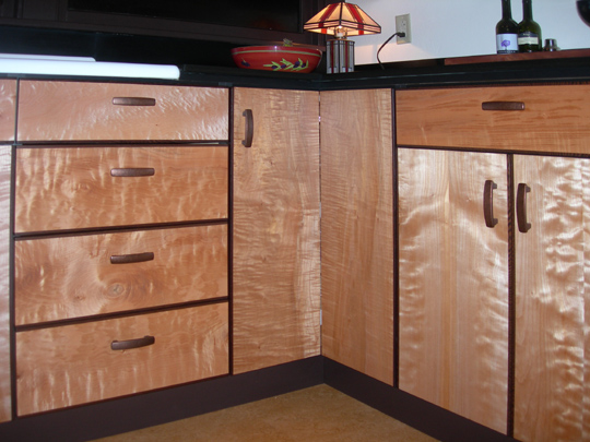 Curly Maple Kitchen Cabinets